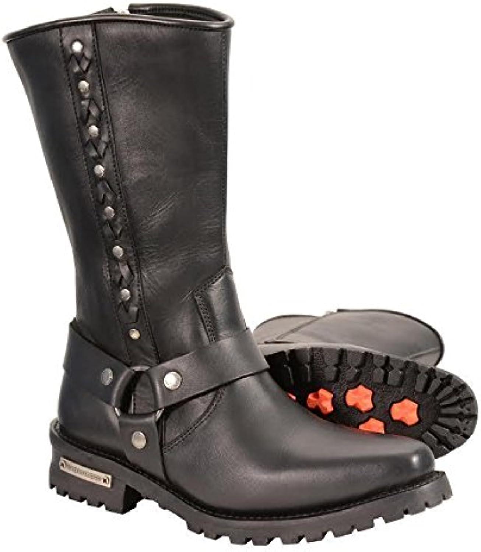 Milwaukee 11  Long Cow Waterproof Leather J Toe Harness Western Boots W Rivet Black