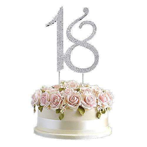 A 18 Number Strass Cake Topper, 18. Geburtstagstorte Dekoration, 18. Jahrestag Kuchendekoration, verwendet für 18. Geburtstagsfeier, Jubiläumsfeier Dekoration