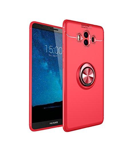 TiHen Funda Huawei Mate 10, 360 Grados Protective con Anillo Soporte+Pantalla de Vidrio Templado Case Cover Skin móviles telefonía Carcasas Fundas para Huawei Mate 10 -Rojo