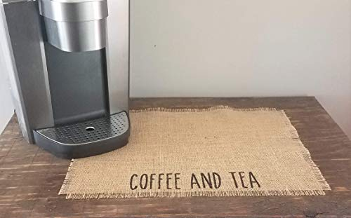 Coffee And Tea Bar Decor, Mat For Keurig, Rae Dunn Inspired Burlap Placemat For Coffee Maker, Mat For Coffee Pot, Farmhouse Coffee And Tea Station Decorations, Coffee Lovers Gift