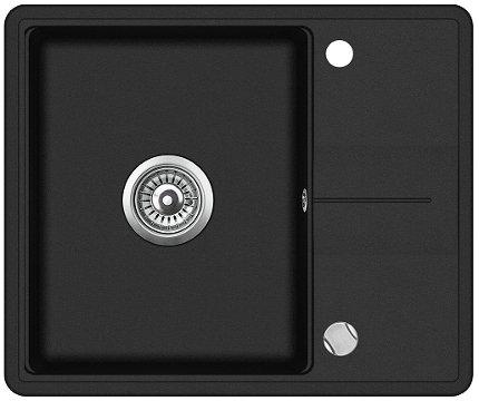 Granitspüle Küchenspüle 50x60 cm Abtropffläche Einzelbecken Einbauspüle schwarz gesprenkelt + Drexexcenter + Ablaufgarnitur