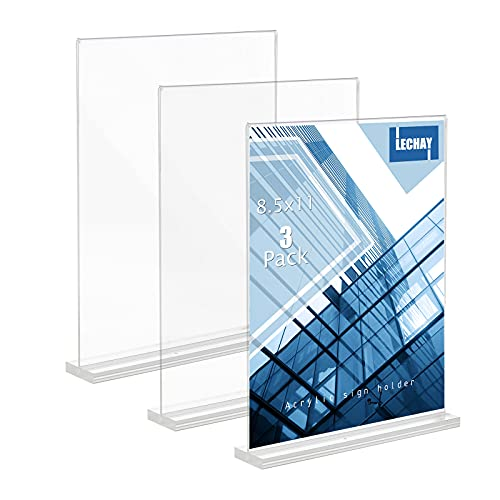 3 Pack Acrylic Sign Holder, 8.5 x 11 inches Clear Table Menu Display Stand Desktop Display Stand Paper Holder Table Top Sign Holder Suitable for Restaurants, Office, Home, Store