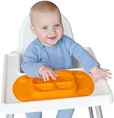EasyMat Mini Portable Baby Suction Plate with Lid, Folding Sides and Carry Case (Olive)