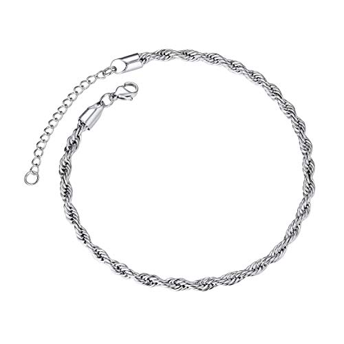 ChainsPro Girls Ankle Bracelet 3mm Thin Chain Anklet 11 inches Adjustable Stainless Steel Ankle Bracelet