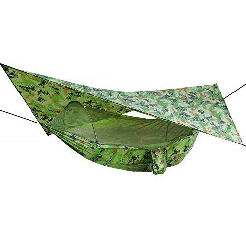 ZXIAQI - Hamaca de camping portátil con mosquitera de apertura rápida con toldo impermeable y toldo para hamaca Pop-Up Hamak Swing silla colgante de aire libre, peso máximo: 150 kg