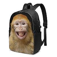 笑顔のオランウータン リュック バックパック 大容量 Pc リュックサック 軽量 メンズ レディース 兼用 多機能 バッグ 通勤 修学 学生 旅行 アウトドア Usbポート&イヤホンポート搭載 キャリーオン機能