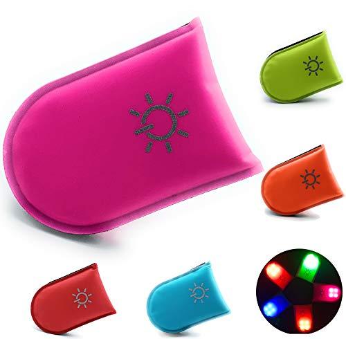 ELANOX LED Clip für hohe Sichtbarkeit bei Allen Outdoor Aktivitäten sowie für Kinder Rucksack, Sportbeutel usw. (rosa)