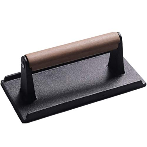 Grillpresse Grill Steak Presse,BBQ Fleischpresse Fleischbeschwerer Grillplatten Grillkochplatten Speckpresse mit Holzgriff Bacon Press Burgerpresse (Color : A)