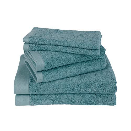 Clarysse - Juego de toallas de baño (6 piezas, 100% algodón peinado,...