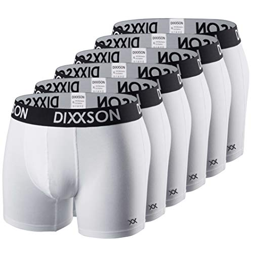 DIXXSON Basic Men Underwear 6er Pack Boxershorts Herren (XL, White)