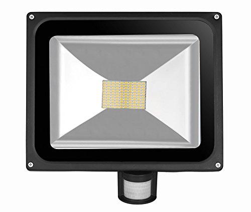 Leetop Interior y Exterior 80W LED Focos Blanco Cálido con Sensor de Movimiento, con Fijación Colgar y Kit de Tornillos, Waterprooff IP65