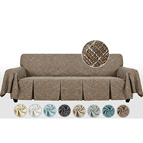MAXIJIN Linen-Like 1 pieza extra grande funda de sofá para sofá de 3 o 4 plazas, funda de sofá decorativa de gran tamaño con volantes para sala de estar (4 plazas, café)