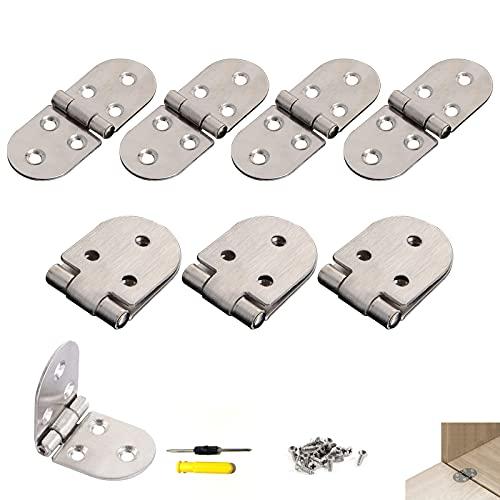 GZhaimai - 8 bisagras de acero inoxidable, perno de puerta duradero para armarios, mesa plegable, caja de herramientas, con 48 tornillos y 1 destornillador
