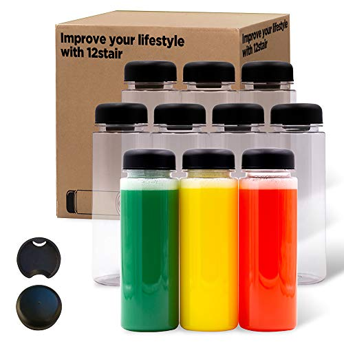 12 STAIR -10pack 16oz plastic bottles with caps juice bottles for juicing reusable bottles, plastic smoothie jars with lids, drink container with lids, Empty Plastic Bottles with Caps dishwasher safe Grade BPA Free