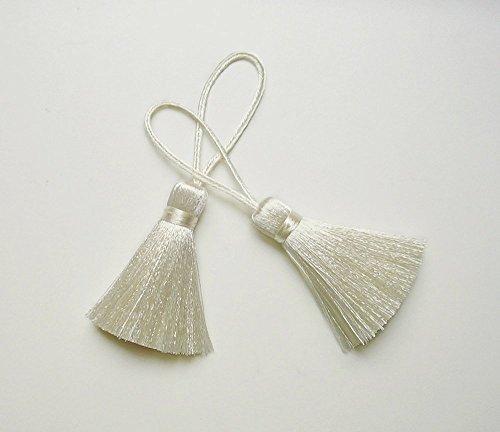 Ivory Tassel Silk Handmade Dangling Trim DIY Jewelry Making Craft Fashion Pendant Sewing Embellishments 2 Pieces