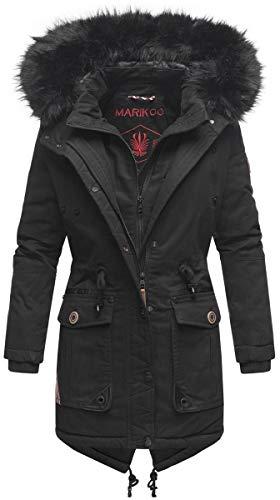 Marikoo Damen Winter Jacke Mantel Parka warm gefütterte Winterjacke Kapuze B812 [B812-Knutsch-Schwarz-Gr.L]