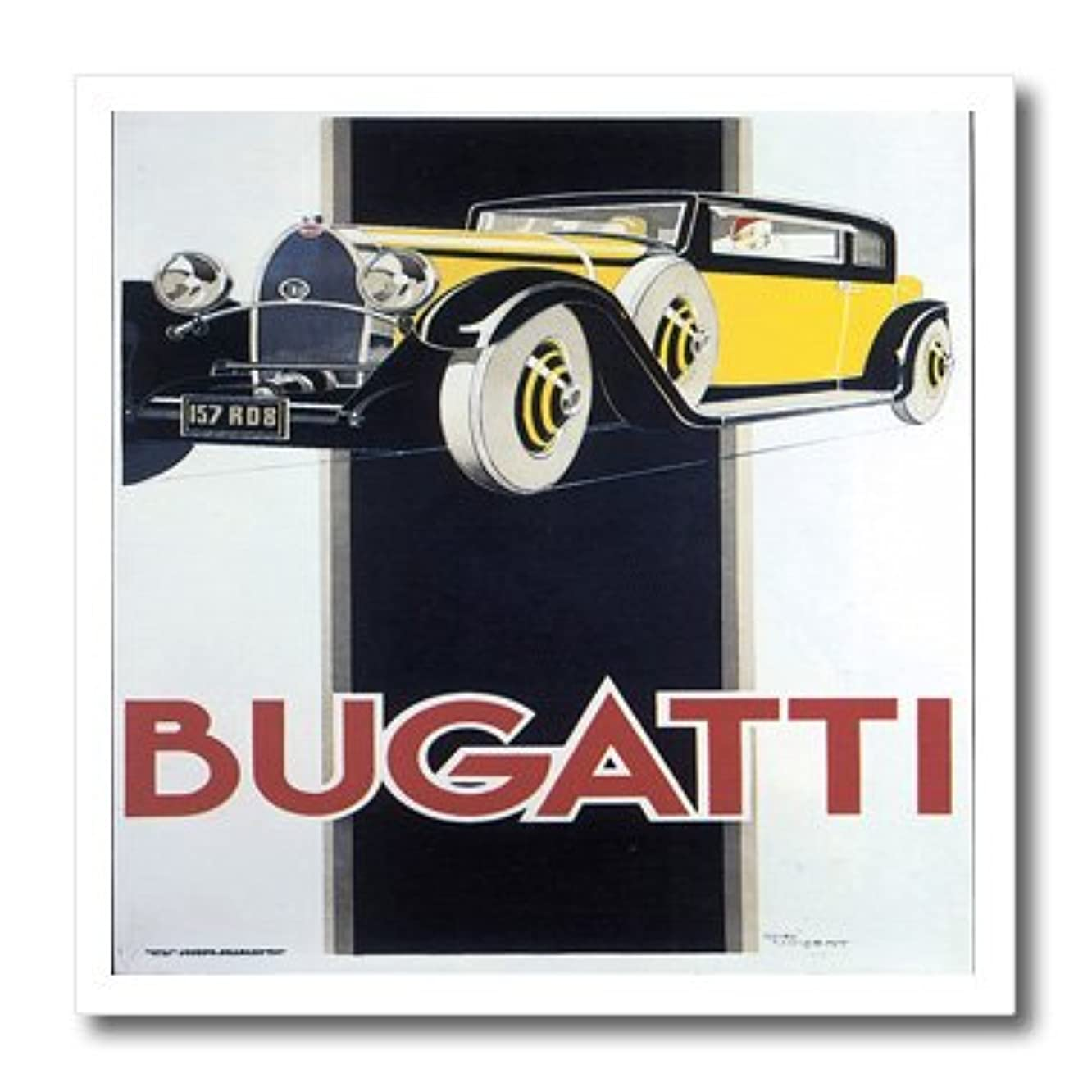 3dRose ht_129965_1 Vintage Bugatti Automobile Advertising Poster-Iron on Heat Transfer for White Material, 8 by 8-Inch