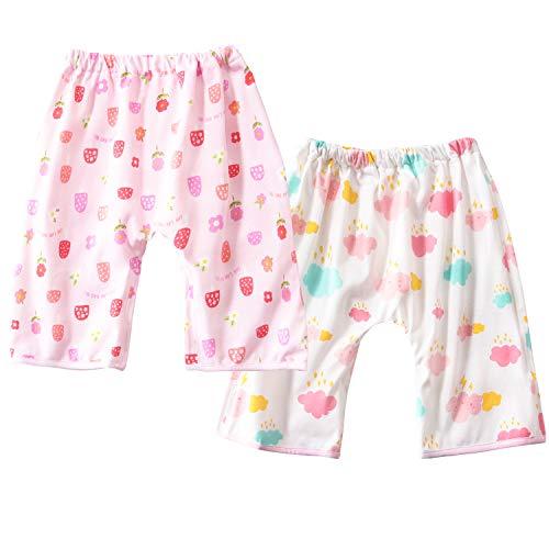 おねしょ対策ケット ズボンタイプ 2枚入 おねしょ対策 ズボン 防水 通気 天然綿100% 女の子 ピンク 花+雲 ウエスト50~60cm 3-5歳 収納ポーチ付