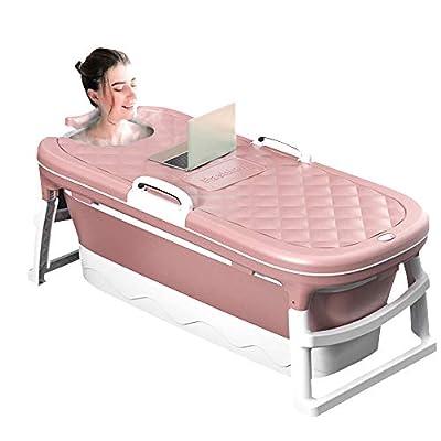 TOPQSC Adult Portable Bathtub , Foldable Children's Bathtub, Household Bathtub, Shower Room Soaking Bathtub, With Thermostatic Cover 45.27 inches (Pink)