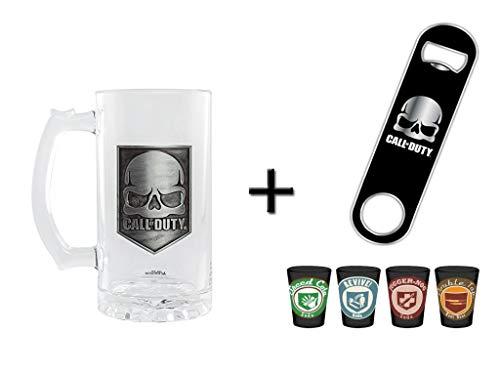 Call of Duty Bierkrug & Flaschenöffner + 4er Set Schnapsgläser