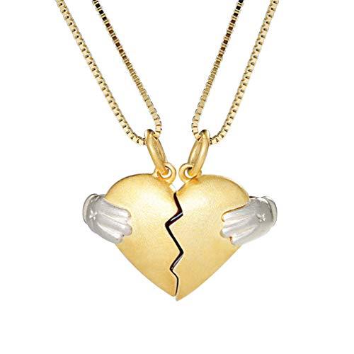 Corazón Collar De Pareja Conjunto Plata 925 Personalizado para El Y para Ella Collar Colgante para 2 Mejor Amigo Día De San Valentín Regalo para Chicas Collares