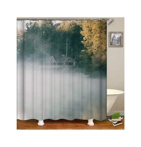 Dreamdge Duschvorhang Rauch und Haus, Wasserdicht Antibakteriell Polyester Vorhang Für Dusche & Badewanne Duschvorhangs 150X180 Mit 12 Haken