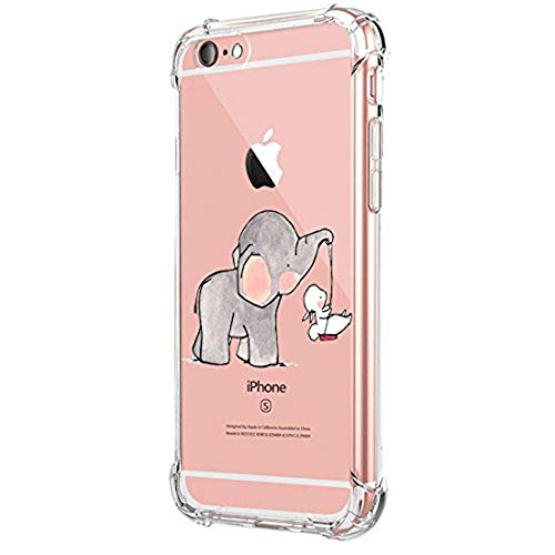 Funda Compatible con iPhone 6 6S Carcasa Silicona Transparente Protector TPU Airbag Anti-Choque Ultra-Delgado Case para Teléfono Apple iPhone 6/6S Caso Caja (iPhone 6/6S, Elefante 04)