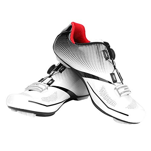 Da Dini Cycling Shoes For Men Women Luminous Road Cycling Riding Shoes Peloton Shoes Breathable Cleat Compatible Delta Indoor Cycling Spin Shoes (White-43)