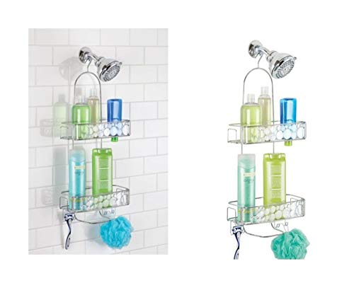 Price comparison product image iDesign Bubbli Shower Caddy,  Metal Shower Organiser with Baskets,  Shower Shelves for Shower Accessories,  Clear / Silver