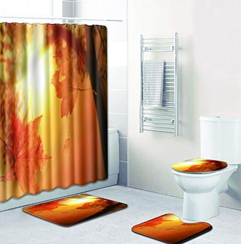 Joy-Beau Bathroom Shower Curtain 4 Piece Sets with 12 Hooks, Non-Slip Bath Mat, U-shaped Toilet Mat and Waterproof Toilet Lid Cover,Landscape Printing