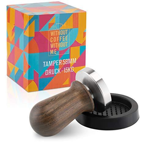 NOUTEN® Premium Espresso Tamper Set 58mm mit Druckreguliereung (15kg) - Kaffeestampfer aus Edelstahl mit Einem elegant geformten Echtholzgriff – Perfekt für Einsteiger - Passende Tampermatte inklusive