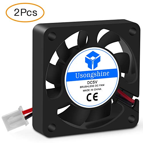 Usongshine 3D Printer Cooling Fan 40 x 40 x10mm 4010 DC 5V Cooling Fan with 2Pin Wire, 2 Packs of Mounting Screws (5V Pack of 2)