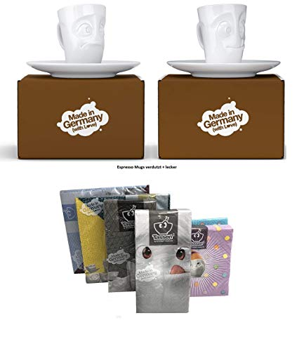 Fiftyeight Espressotassen Espresso Mug 2er Set + SERVIETTEN, 80 ml, VERDUTZT+LECKER E Mugs 2