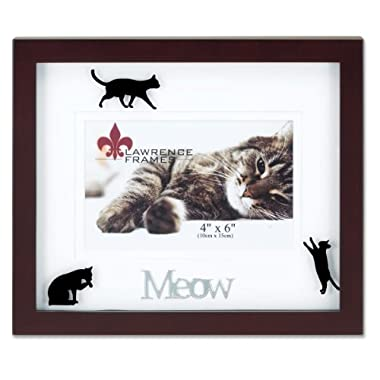 Lawrence Frames Walnut Wood 4 by 6 Meow Picture Frame, Matted Shadow Bo by Cat Frame