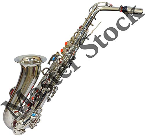 Stock Mania® 012 Alto Saxophone,Super Special Quality, Silver polish with Extra Item Like Hardcase +Reeds+Belt Preferred By Musicians With Pleasant Sound quality & Pitch