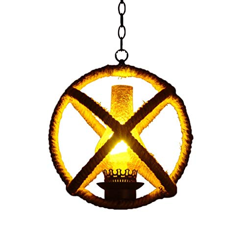 NBVCX Furnishing Decoration Chandeliers Vintage Hemp Rope Chandelier Traditional Country Style Pendant Ceiling Light Lamp Dining Room 1 Light Round E27 Art Hanging Light-39 * 39CM Pendant Lighting