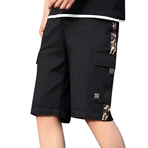 Bermuda Cargo Uomo,ITISME Pantaloni Corti Hip Hop Mimetici Patchwork Shorts Uomo Hawaii Stampa con Tasche Pantaloncini da Spiaggia Eleganti Elastico in Vita Stile Coreano