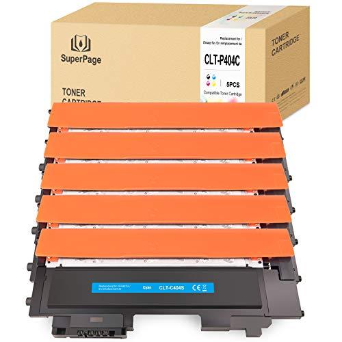 5 Superpage Kompatibel für Samsung CLT-P404C K404S C404S M404S Y404S Multipack Toner für Samsung Xpress C480W C480 C430W C430 C480FW (Schwarz/Cyan/Magenta/Gelb)