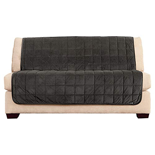 SureFit SF42365 Comfort Armless Loveseat, Microban Antimicrobial Pet Furniture Cover, Dark Gray