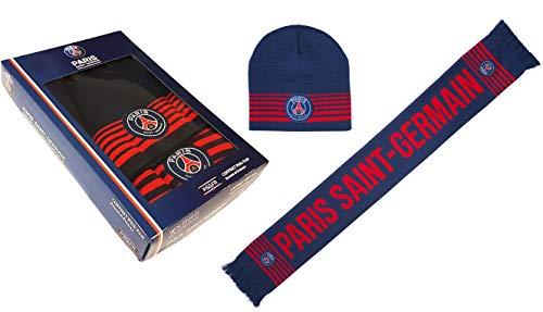 PARIS SAINT GERMAIN Coffret Cadeau PSG - Echarpe + Bonnet - Collection Officielle
