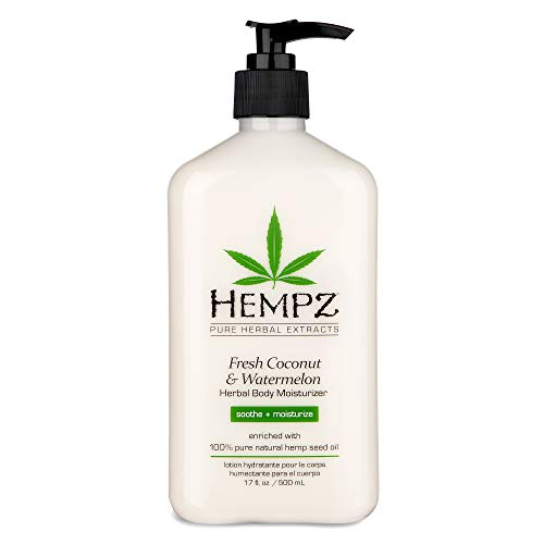 Hempz Fresh Coconut & Watermelon Moisturizing Skin Lotion, Natural Hemp Seed Herbal Body Moisturizer with Chamomile & Avocado Extracts, Vitamins  A, C, E & D, 17 oz