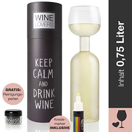Wine Lovers Weinflasche Glas - Weinglas Flasche XXL inklusive Kreidemarker - Weinglas lustig als perfekte Geschenkidee - inkl. Reinigungsperlen