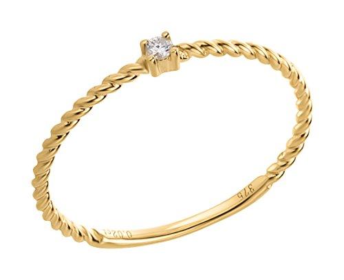 Ardeo Aurum Damenring aus 375 Gold Gelbgold mit 0,02 ct Diamant Brillant Solitär-Ring Vorsteckring Stapelring