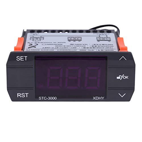 Controlador de temperatura Aramox STC-3000, termostato electrónico digital táctil con sensor -55 ℃ 〜120 ℃(110-220V 30A)