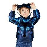 SLYRAIME Kids Boys Girls Blue Wolf Sweatshirts 3D Printed Hoodies,L