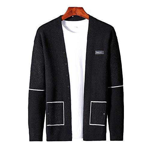 Suéter de Abrigo de Color Liso para Hombre Costura de un Solo Pecho Clásico Talla Grande Cárdigan Informal de Ajuste Regular Prendas de Punto X-Large