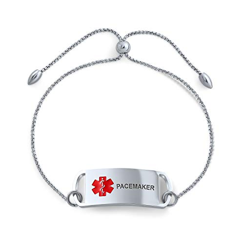 Bling Jewelry Pacemaker Medical Alert ID Box Link Kette Bolo Armband Name Stil Tag für Frauen Teen Edelstahl Custom graviert