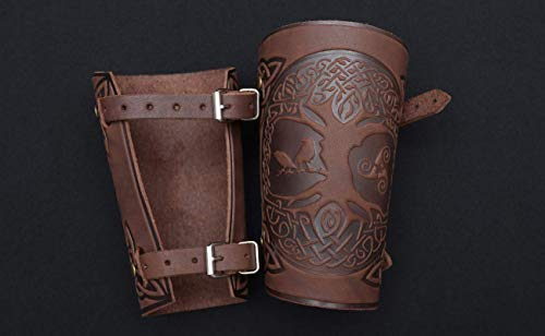 """Hand Made Full Grain Leather Cuffs Bracers - LARP Gauntlet - Leather Wristbands - LARP Accessories Viking Bracers - Archery Armguard - Yggdrasil World Tree - Halloween Costume Length 6"""""""