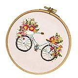 non-brand Stickvorlage vorgedruckt Kreuzstich Stickbild Handarbeit Sticken - Fahrrad Blumen zum Selber Basteln, als Geschenk/Dekoration
