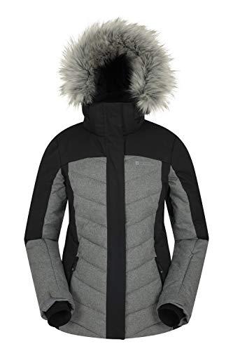 Mountain Warehouse Pyrenees Gepolsterte Skijacke für Damen - wasserdichte Winterjacke, atmungsaktiv, verstellbare Passform, abnehmbare Kapuze, Schneefang, Luftöffnungen Schwarz 38